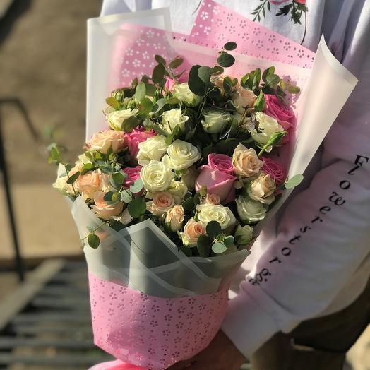 Кустовые розы. Монобукет. N414: букеты цветов на заказ Flowwow