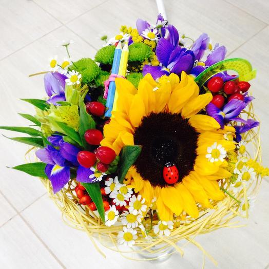 Букет с подсолнухом 4: букеты цветов на заказ Flowwow