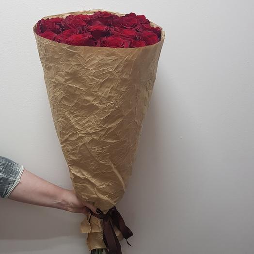 Розы бордовые 80см