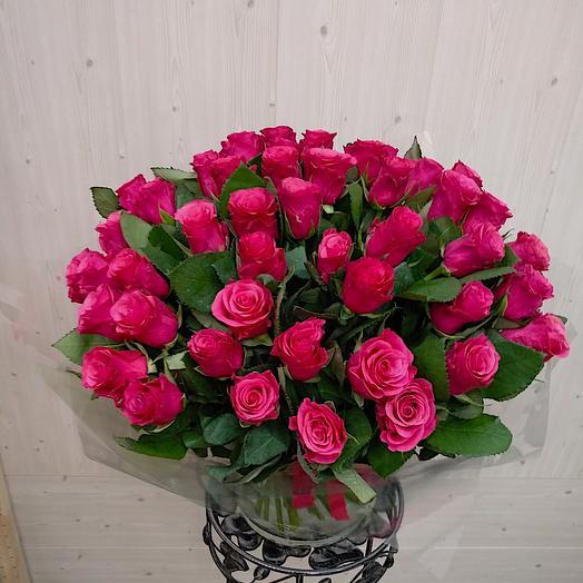 Малиновая заря (45 роз)