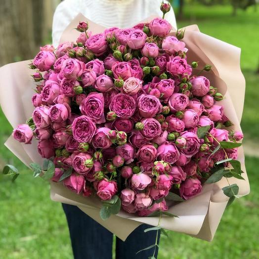 Монобукет из пионовидных ароматных роз