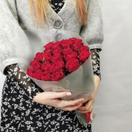 """Букет """"Мальбек 25"""" из красных роз 40 см"""