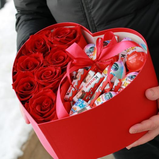 Сердце с голландской розой
