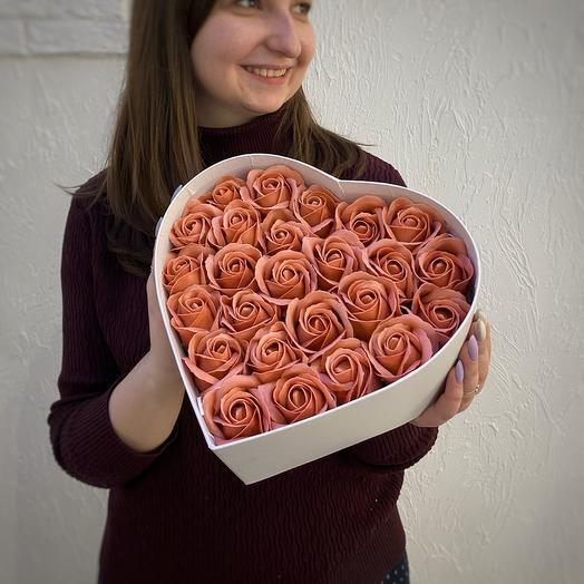 Крем-брюле. Soap roses box
