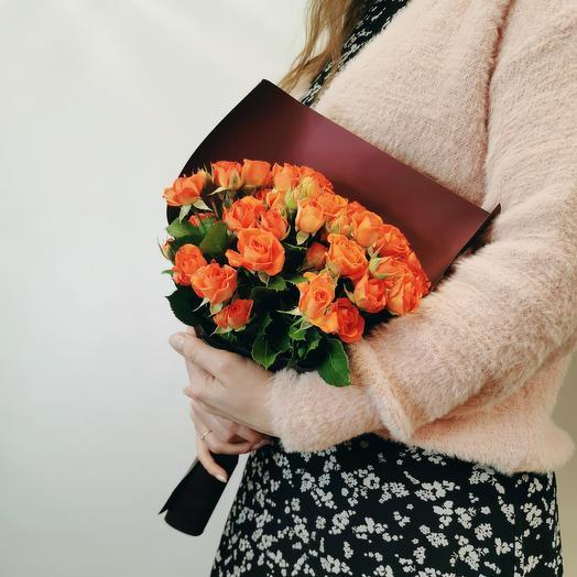 """Букет """"Апероль 11"""" из оранжевых кустовых роз"""