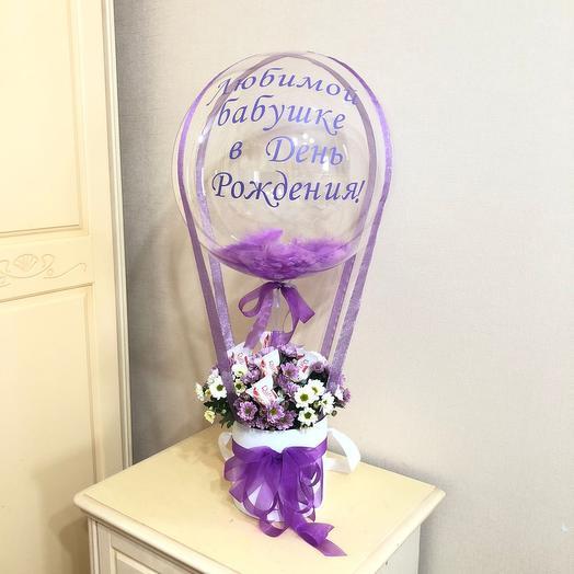 Шар баблс с цветами и рафаэлло