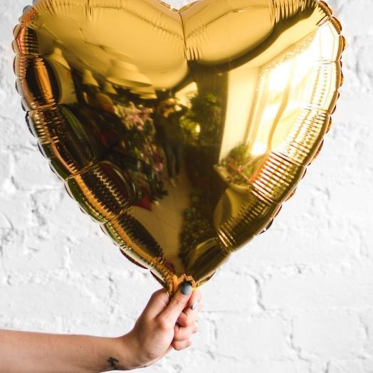"""Гелевый фольгированный шар """"золотое сердце"""""""