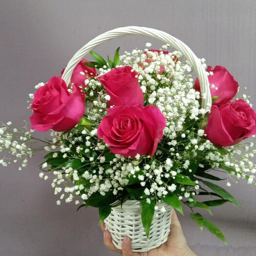 "Корзина 7 роз ""Пинкфлоид"""