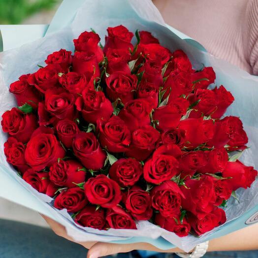 Букет из 51 красной розы (Кения) 40 см Standart