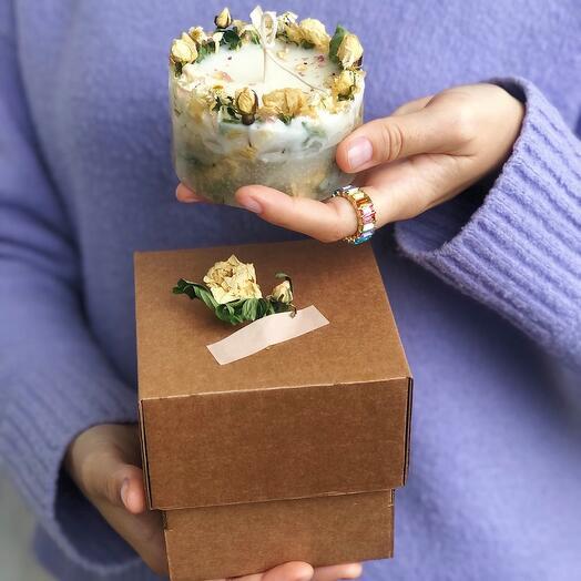 Цветочная свеча подарок