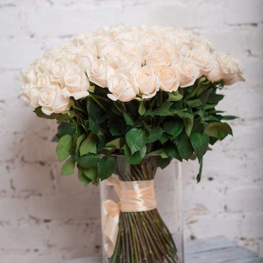 99 белых роз: букеты цветов на заказ Flowwow
