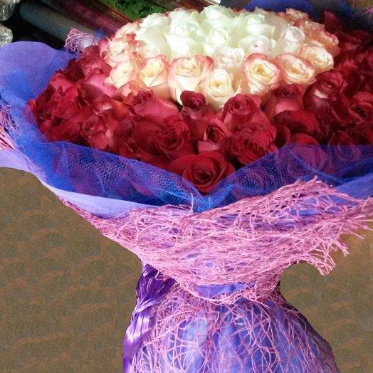 101 роза Градиент: букеты цветов на заказ Flowwow