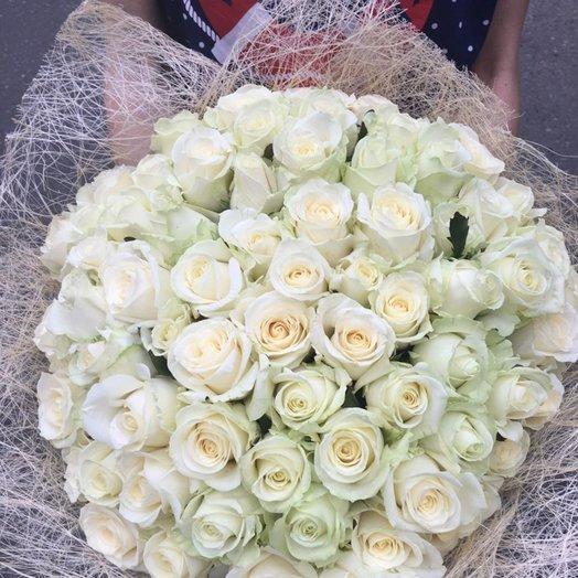 Букет из 59 белых роз: букеты цветов на заказ Flowwow