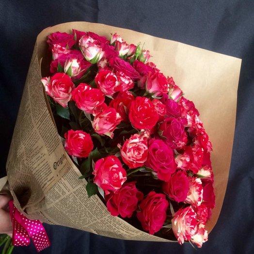 Кустовая роза в  крафте: букеты цветов на заказ Flowwow