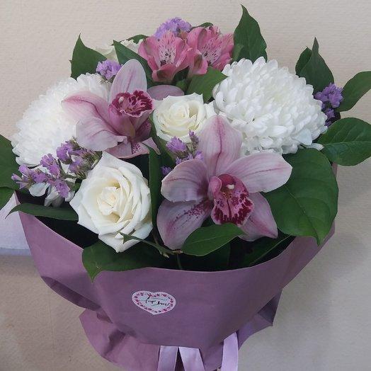 Букет с орхидеей. Любящее сердце