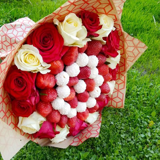 Edible bouquet of strawberries, chocolates and roses
