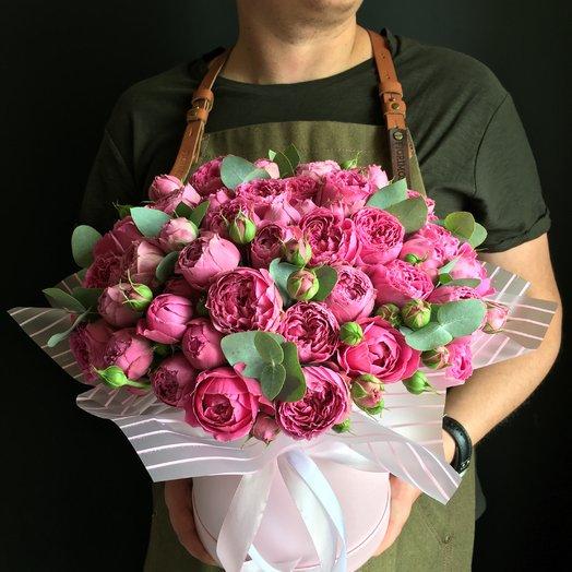 Коробочка пионовидных роз : букеты цветов на заказ Flowwow