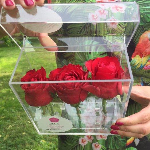 Кристальный бокс с розами: букеты цветов на заказ Flowwow