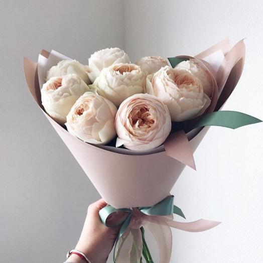 9 пионовидных роз: букеты цветов на заказ Flowwow
