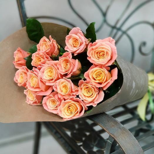 Букет из 15 коралловых роз: букеты цветов на заказ Flowwow