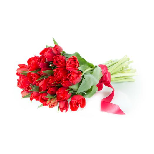 29 красных тюльпанов: букеты цветов на заказ Flowwow