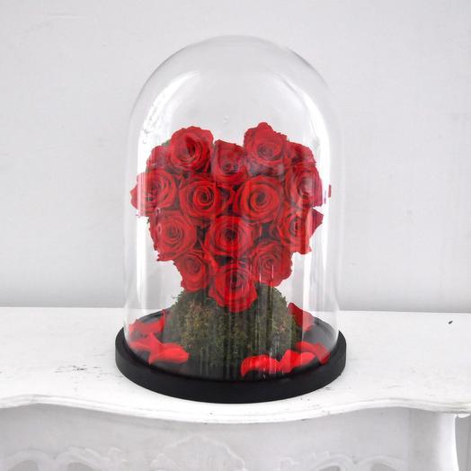 """КОМПОЗИЦИЯ """"ВЕЧНАЯ ЛЮБОВЬ"""" СЕРДЦЕ, РОЗЫ СТАБИЛИЗИРОВАННЫЕ: букеты цветов на заказ Flowwow"""