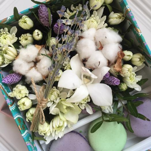 Коробка с живыми цветами и макарони «прованс»