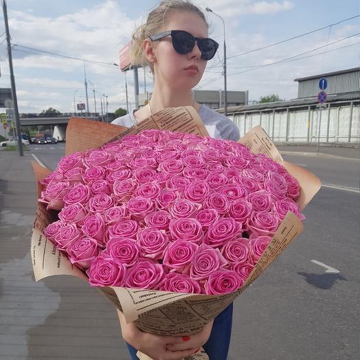 Букет из 101 розовый розы (70 см.): букеты цветов на заказ Flowwow
