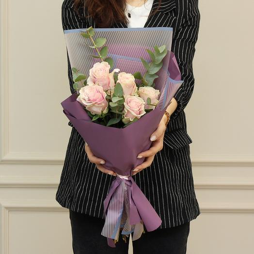 Букет из 5 розовых премиум роз: букеты цветов на заказ Flowwow