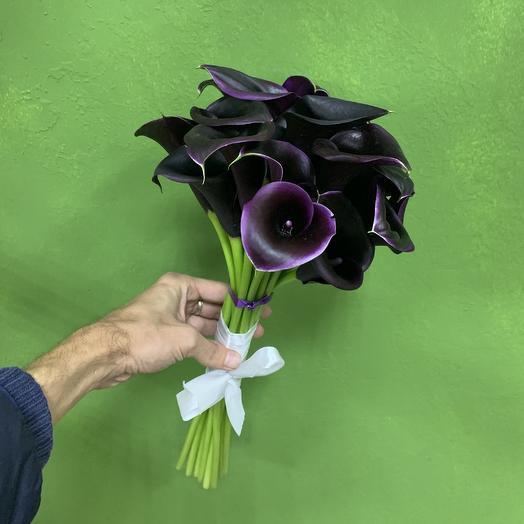 Букет 19 чёрных калл: букеты цветов на заказ Flowwow