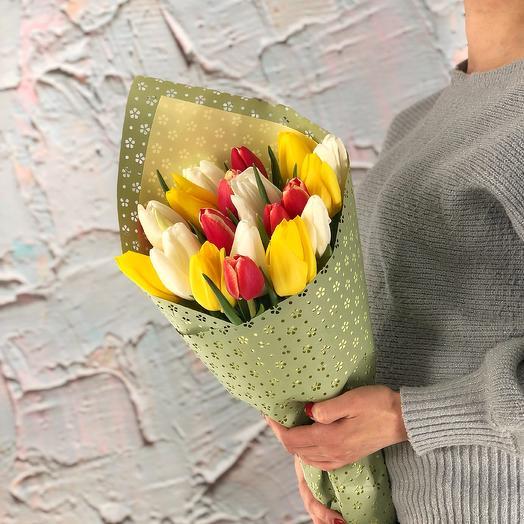 Яркий микс (21 тюльпан)