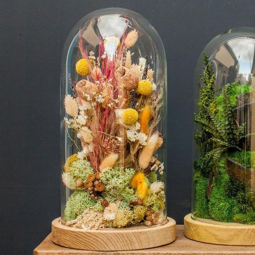 Декоративная композиция с сухоцветами
