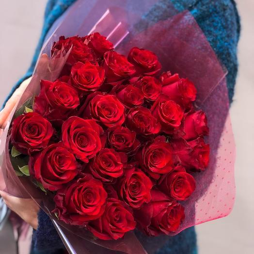 25 красных роз 70см