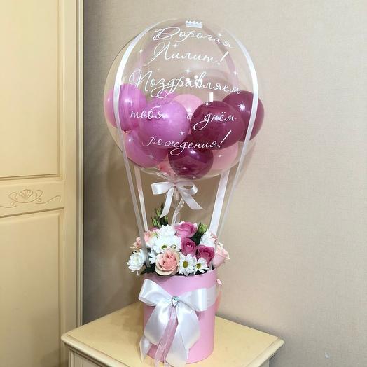Цветы в коробке с шаром баблс