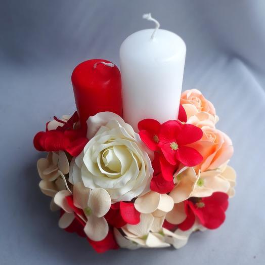 Свечи с декором из цветов из мыла