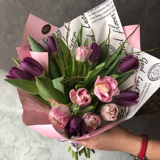 Сиреневый тюльпановый микс