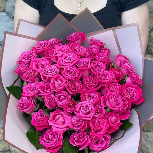 """Букет """"51 малиновая роза"""""""