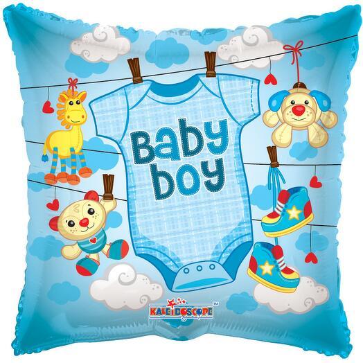 """18""""/45 см Квадрат baby boy выписка мальчик"""