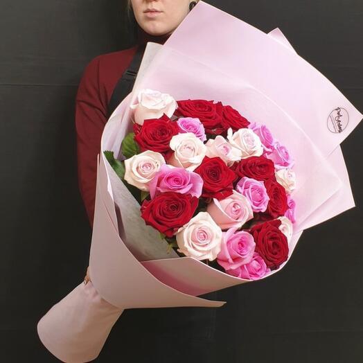 """Букет """"25 роз с крупным бутоном"""" 60 см"""