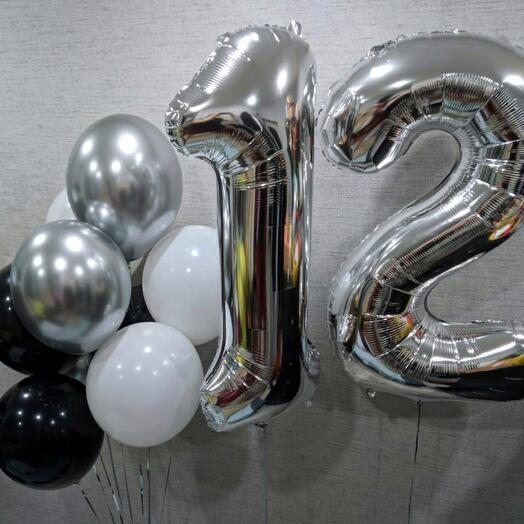 Шары цифры серебро + фонтан из 9 шаров
