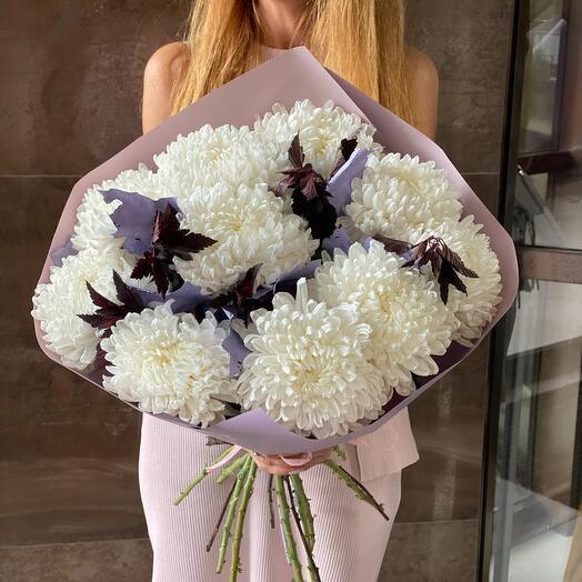✅ Белоснежные хризантемы 9 шт
