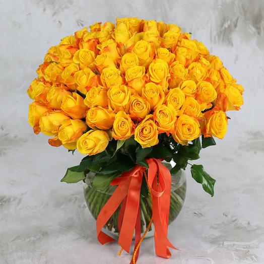 Букет из 101 желтой розы 40 см: букеты цветов на заказ Flowwow