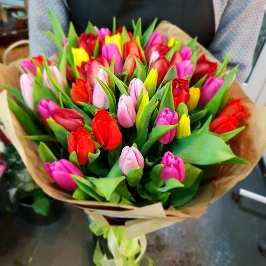 49 тюльпанов ассорти: букеты цветов на заказ Flowwow