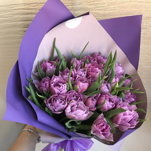 27 пионовидных тюльпанов: букеты цветов на заказ Flowwow