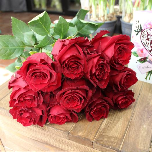 """Шикарный букет классических роз """"Красный оникс"""""""