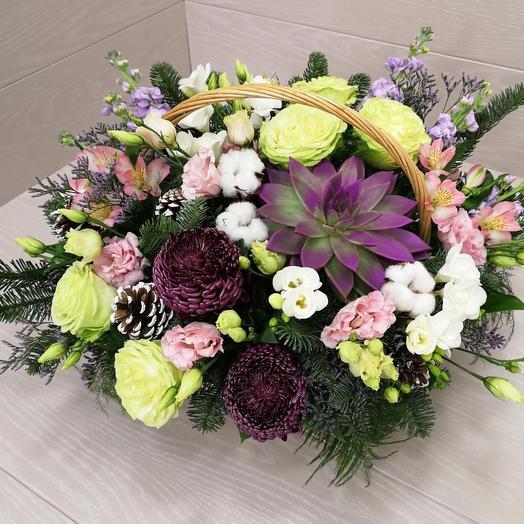 """Зимняя корзина """"Морозное утро"""": букеты цветов на заказ Flowwow"""