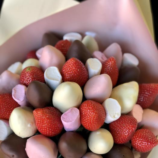 Bouquet with chocolate and marshmallow