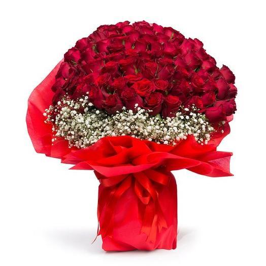 101 красная роза в упаковке