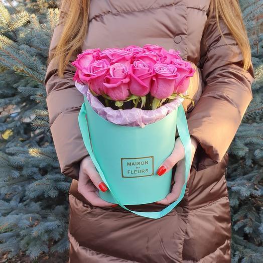 Rosalina 15 роз в коробке цвет Тиффани