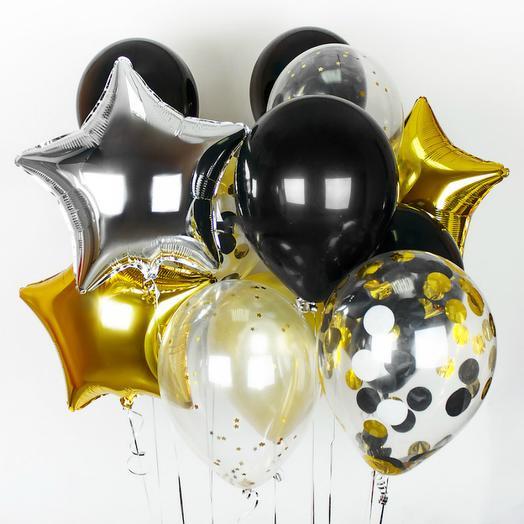 """Композиция шаров воздушных """"Дерзость и золото"""""""